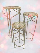 Gartentische 3er Set Eisen rustikal Garten Balkonmöbel Terrassen Vintage Antik