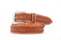 Nocona Tan Leather Mens Square Weave Belt