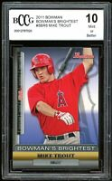 2011 Bowman Bowman's Brightest #BBR6 Mike Trout Rookie Card BGS BCCG 10 Mint
