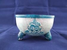 Blue Coloured Soapstone Buddha Charcoal Pot with Deep Bowl.