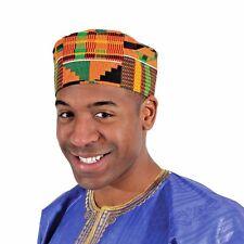 Kente Kufi Hat Style #2 | Mens Fabric Cap  (multicolor kente material)