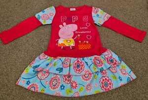 Girls cartoon pig strawberries long sleeve pink dresses (4-5 Years)
