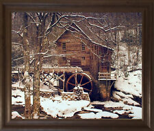 Glade Creek Mill Winter Snow Trees Scenery Wall Decor Brown Rust Framed Picture