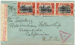 SOUTHERN RHODESIA 1941 CENSORED RED TRIANGULAR CLEAR 2 CALIFORNIA + SLOGAN