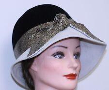 vintage 1960/70 women's HAT FRANK OLIVE BUCKET BLK VELVET CROC PRINT BAND BEIGE