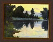 Old Vintage original signed oil lake Landscape painting Russian realism