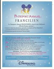 pass Disneyland PARIS calendrier PASSEPORT ANNUEL FRANCILIEN 2001-2002 TTB