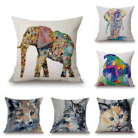 Watercolor Ink Painting Animals Decorative Throw Pillow Case Cushion Cover 18''