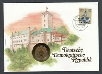 1984 DDR German stamp & coin on cover Architecture Buildings Design