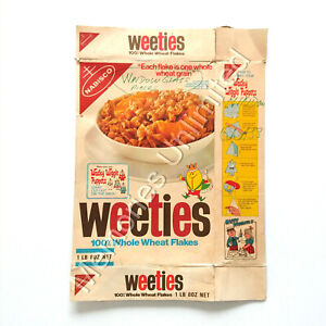 """1970s Nabisco Weeties """"WACKY WIGGLE PUPPETS 1LB 8OZ BOX WITH EVIL ERNIE PANEL"""""""