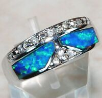 Australian Opal Inlay & White Topaz 925 Sterling Silver Ring Jewelry Sz 6 ,OR-1