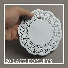 20 PAPER PARTY DOILIES DOILY LACE DOYLEYS CATERING WEDDING COASTERS ROUND