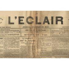 L'ÉCLAIR 9-3-1916 Lanuéjols Brigon Sumène Bagnols Marguerittes Uzès Beaucaire...