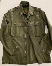 GREAT CHINA WALL Men's Olive Khaki Studded Vtg Military Jacket Size Medium