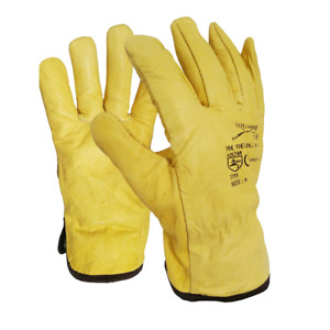 10 x Premium Leather Yellow Driver Gloves Fleece Lined Lorry Driving Work Glove