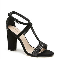 designer mimco genuine leather suede glitter black block chunky heels 37 6 5.5