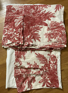 Pottery Barn Queen Matine Toile Red Rose Bed Skirt