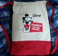 Vintage Disney Mickey Mouse The True Original Cloth Drawstring Book Bag Knapsack