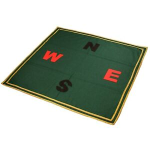 """Bridge Poker Card Gaming Table Cloth Green Baize Appliqued with NESW 36"""" Square"""
