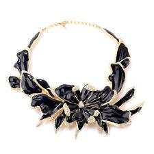 COLLANA D'oro Nero Cristallo Smalto Fiore Grande Vintage Elegante Nozze OSC2