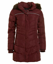New Womens Superdry Unique Sample Glacier Down Parka Jacket Size Small Berry