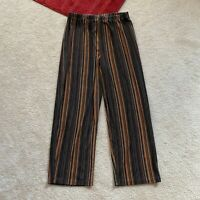 Chico's Travelers Womens 1 Striped Crop Pants Elasticized Waist Act W 24 x I 23