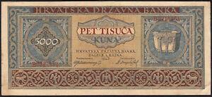 1943 Croatia 5000 Kuna WWII NDH Old Money Banknote German Nazi Occupation XF