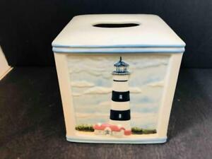 "Paul Brent Coastal Breeze Ceramic Relief Lighthouse 5.5"" Tissue Box Cover"