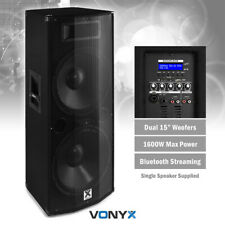 """Vonyx CVB215 Active Powered PA Speaker with Bluetooth USB DJ Double 15"""" 1600w"""