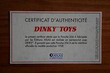 CERTIFICAT DINKY TOYS ATLAS PORSCHE 356