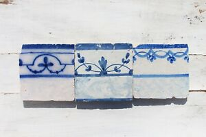 18th Century Antique Portuguese Set of Three Tiles depicting Flowers, Rocailles
