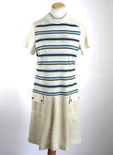 Vintage 60s Miss Donna Mod Scooter Dropped Waist shift dress Striped Stretch