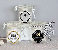 50 Personalized Graduation Party Mini Glass Jar Swing Top Lid Candy Favor