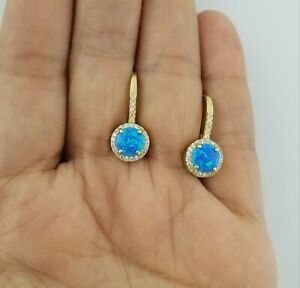 14K Yellow Gold Over Blue Opal White Sapphire Drop Dangle Leverback Earrings