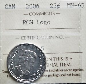 2006 Canada 25 cents ICCS MS-65