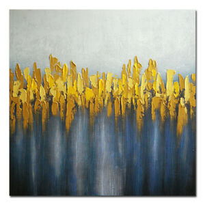 Original Hand Paint Canvas Oil Painting Wall Art Home Decor Abstract Gray Yellow