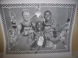 Michael Jordan, Magic Johnson, Larry Bird Lithograph by Robert Simon Art