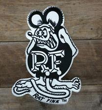 "LARGE RAT FINK IRON ON JACKET PATCH 12"" HOT ROD CUSTOM GASSER VTG STYLE ED ROTH"
