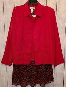 Draper's & Damon's Dot Dressing Three Piece Skirt Set Size 16W NEW! Black Red