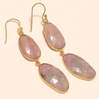 Gold Plated Natural African Tourmaline Earrings 925 Sterling Silver Fine Jewelry