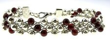 Swedish Sami Style Bracelet Silver Plated Beads Gemstone Red Garnet