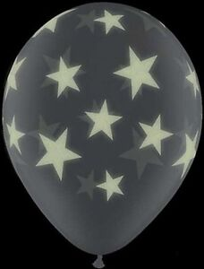 "10 pc 11"" Glow in Dark Stars Latex Balloon Party Birthday Memorial Space Wedding"