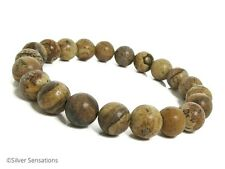 Brown & Beige Picture Jasper Beaded Stretchy Unisex Bracelet Gift for Him & Her