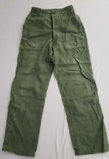 Vintage 1950s Us Army Od Green Cotton Button Fly Pants Military Fatigues 28W 30L