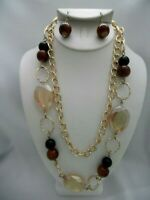 Pierced gold chain necklace & earring set w/brown & black beads