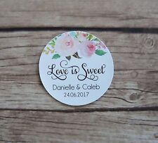 24 Personalised Stickers - Love is Sweet Wedding Tags, Favours