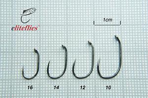 eliteflies Competition Black Nickel Barbless Blob fly hook fishing 16 14 12 10