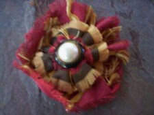 fabric flower pin and hair elastic/Hademade flower brooch & ponytail holder