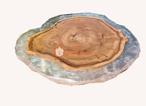 Clear Resin River Din Restaurant Coffee Table Acacia Handmade Luxury Furniture