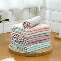 5Pcs Microfiber Tea Towels Kitchen Dish Absorbent Cloths Cleaning Drying Towel@